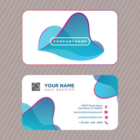 Abstract Blue Curves Business Card