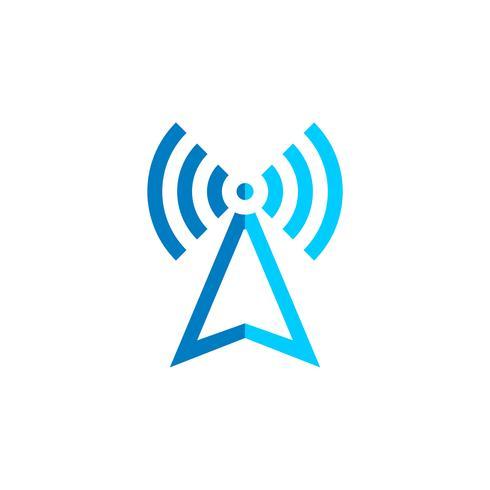 Projeto da ilustração do molde do logotipo da torre do sinal. Vetor eps 10