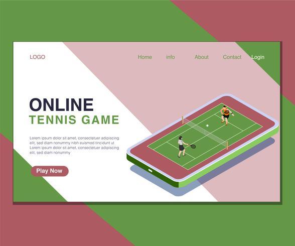 Niños que juegan concepto isométrico en línea de las ilustraciones del juego de pelota de tenis. vector