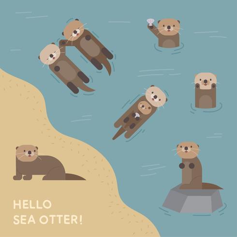 Lindo personaje nutria de mar.