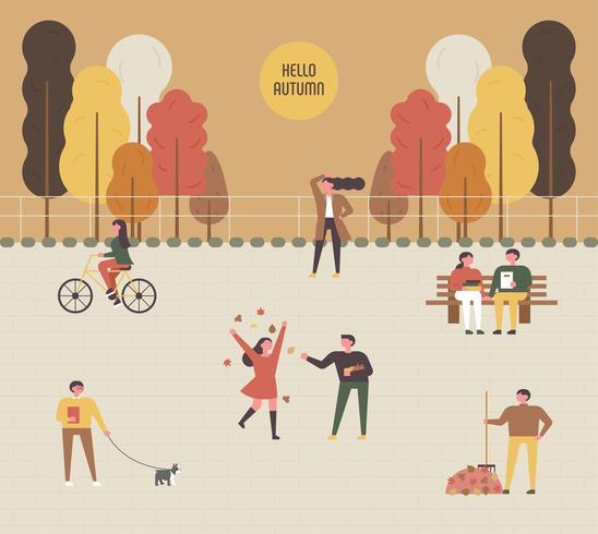 Herbst Hintergrund Park Menschen.