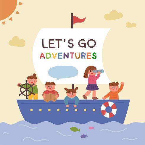 Bambini carini che sono andati su una barca e hanno esplorato. vettore