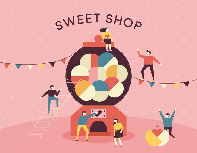 söt butik godis maskin och små människor. vektor