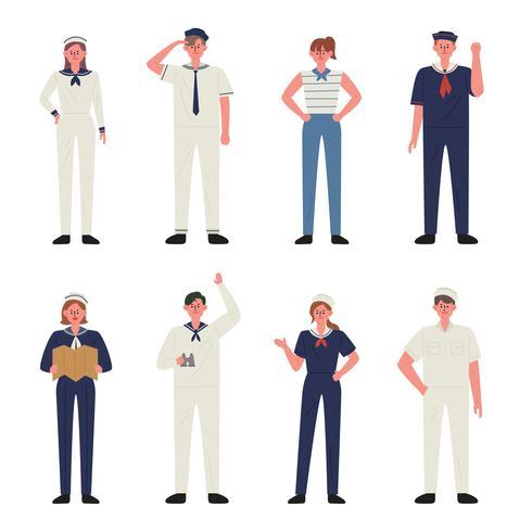 verschiedene marine uniform charakter.