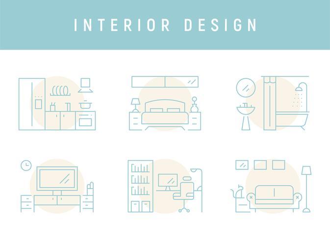 Interior design for each room. vector