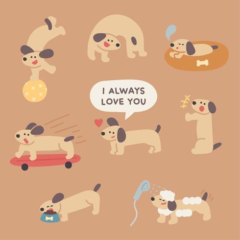routine de journée de chien mignon.