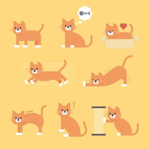 collezione di gatti simpatici. illustrazione vettoriale animale.