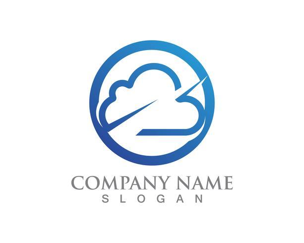 Ícones de dados e símbolos de servidores de logotipo de nuvem