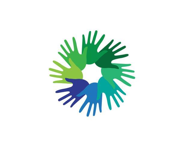 Equipo de amigos de la mano logotipo y símbolos de la comunidad. vector