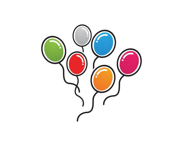 Festliche Ballone des Fliegenvektors, die mit glatten Ballonen für Feiertag glänzend sind vektor