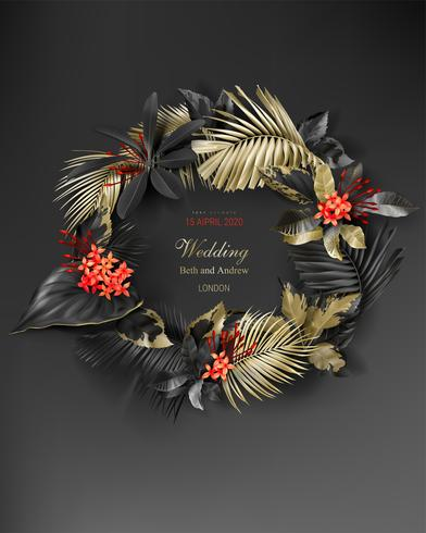 Tropical black and gold leaves wreath