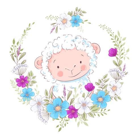 Ilustração dos desenhos animados de um carneiro bonito em uma grinalda de flores azuis e roxas. Ilustração vetorial na mão desenhar vetor