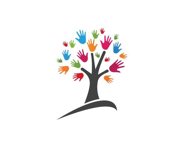 Mão, equipe, amigos, comunidade, logotipo, e, símbolos vetor