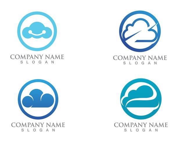 Cloud logo servers data en symbolen pictogrammen