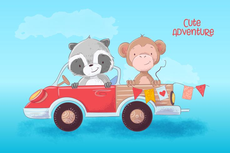 Ilustração dos desenhos animados de um guaxinim bonito e macaco em um caminhão. Ilustração vetorial
