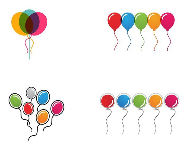 Balões festivos de vetor voador brilhante com balões brilhantes para férias