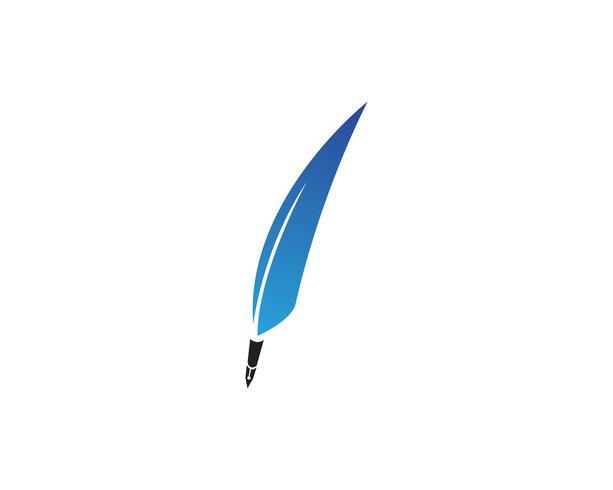 La penna della piuma scrive le icone di app del modello di logo del segno