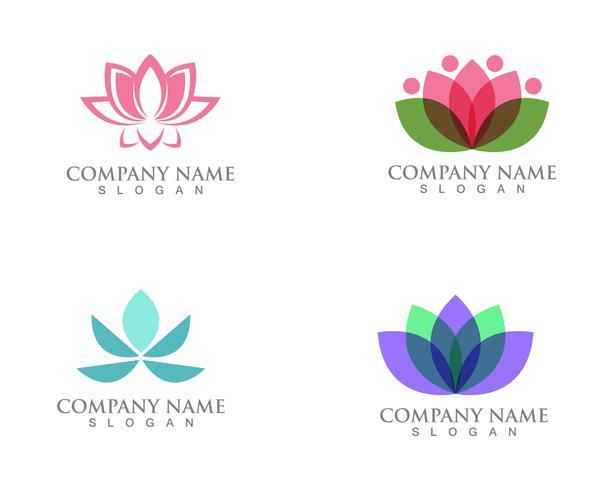 Signo de flor de loto para el bienestar, spa y yoga. Ilustración vectorial vector