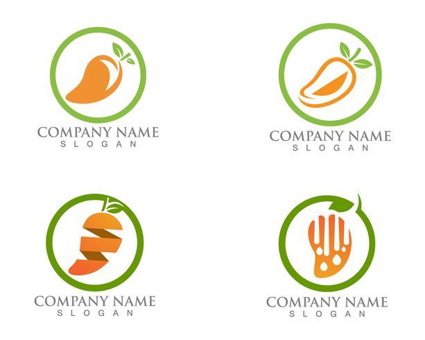 Plantilla de vector de mango mango e icono de fruta