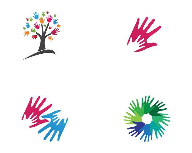 Equipo de amigos de la mano logotipo y símbolos de la comunidad.