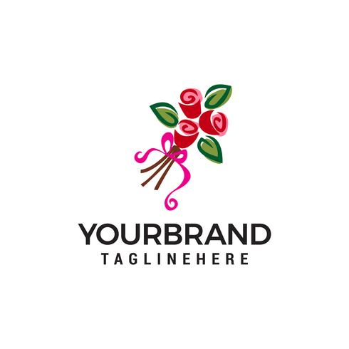 cadeau fleur logo design concept template vecteur