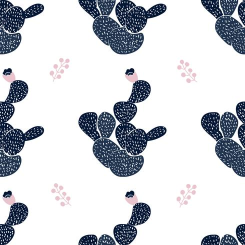 Hand drawn decorative seamless pattern with cacti. in Scandinavian style. Trendy tropical design for textile vector