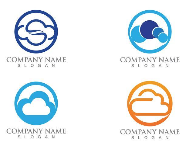 Cloud logo servers data en symbolen pictogrammen vector