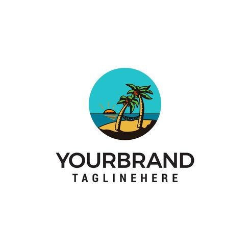 plage été logo design concept template vecteur