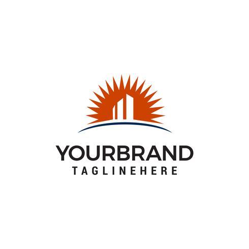 building with sun logo design concept template vector