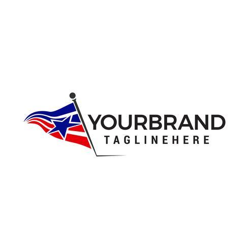 flagga amerika stjärna logotyp design begrepp mall vektor