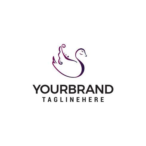 cisne logo diseño concepto plantilla vector