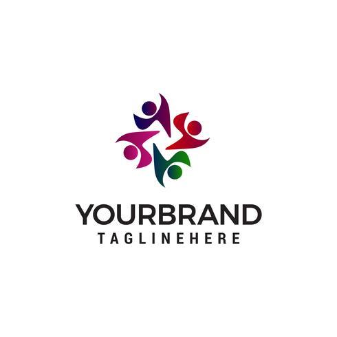Vector de plantilla de concepto de diseño de logotipo de personas de comunidad