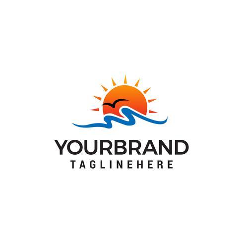 vettore del modello di concetto di progettazione di logo della spiaggia del sole