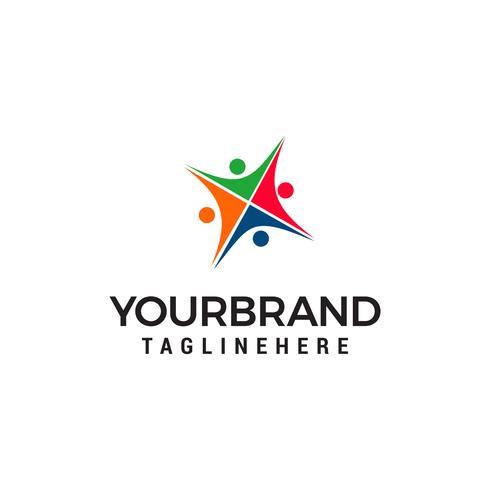 vetor de modelo de conceito de design de logotipo de comunidade de pessoas