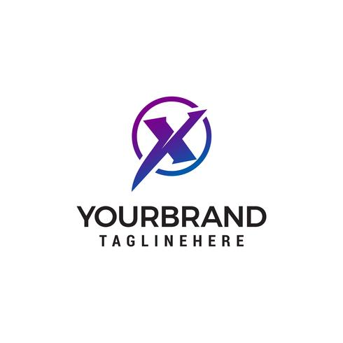 Letra X tech círculo logo diseño concepto plantilla vector