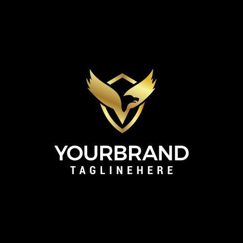 Vector de plantilla de concepto de diseño de logotipo de ala de pájaro de lujo