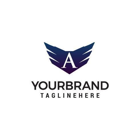 Letra A ala logo diseño concepto plantilla vector