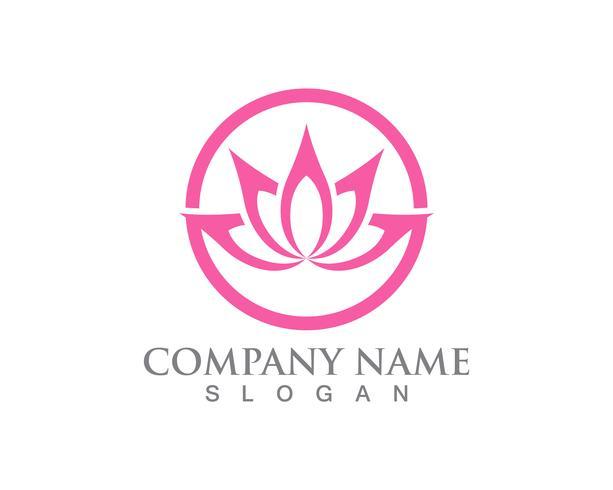 Sinal de flor de lótus para bem-estar, Spa e Yoga. Ilustração vetorial vetor