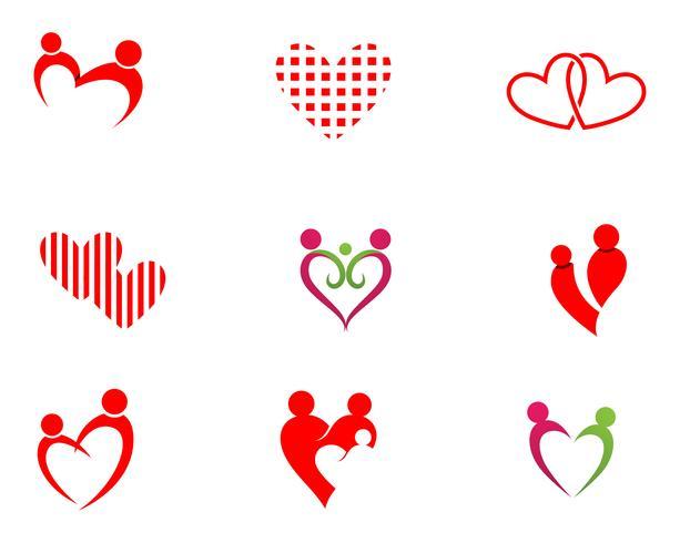 Amour adoption bébé soins logo et vecteur de symboles