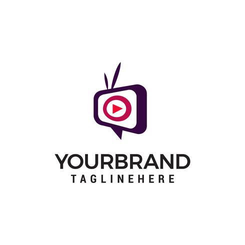 vettore del modello di concetto di progettazione di logo di media TV