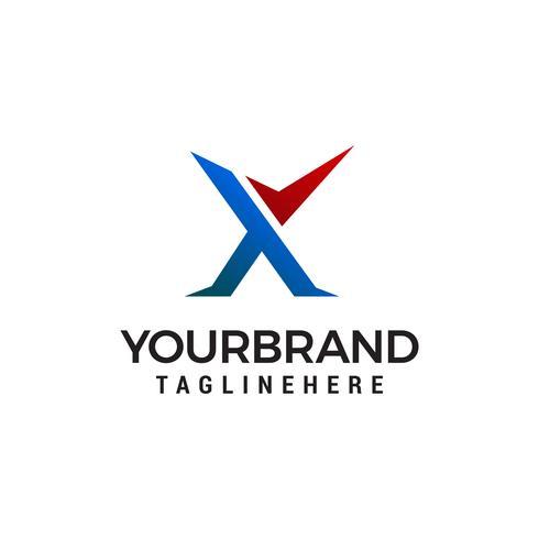 Letra X marca de verificación logotipo diseño concepto plantilla vector