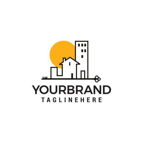 Byggnader Logo minimalistisk logotyp design koncept mall vektor