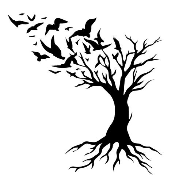 árbol con pájaros vector