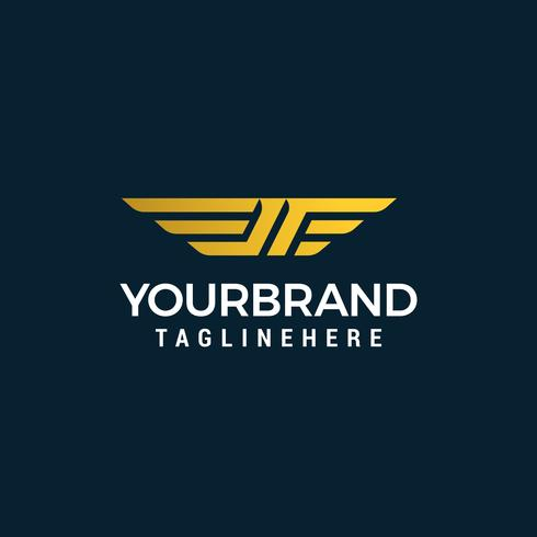 brev jf vinge logotyp design koncept mall vektor