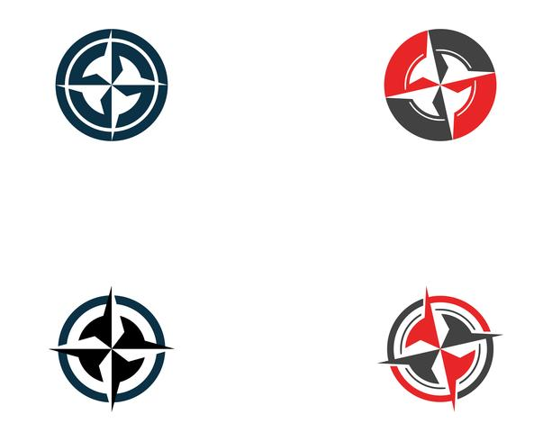 Kompasslogo und Symbolschablonenikonen-Vektorbild vektor