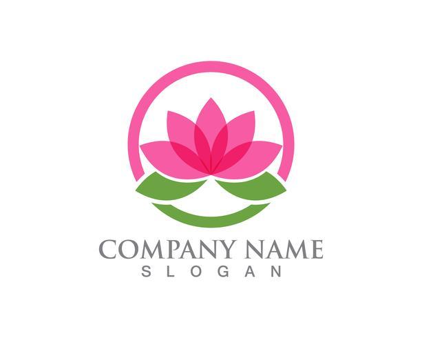 Signo de flor de loto para el bienestar, spa y yoga. Ilustración vectorial