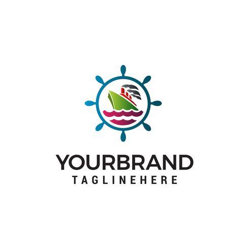 sailor Nautical logo design concept template vector