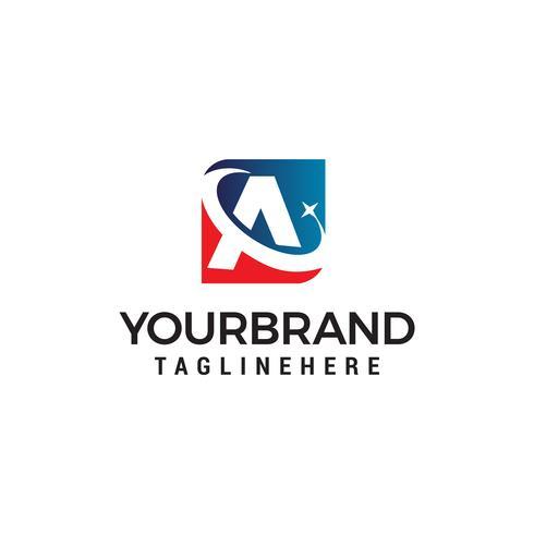 lettera A con stella logo design concetto modello vettoriale