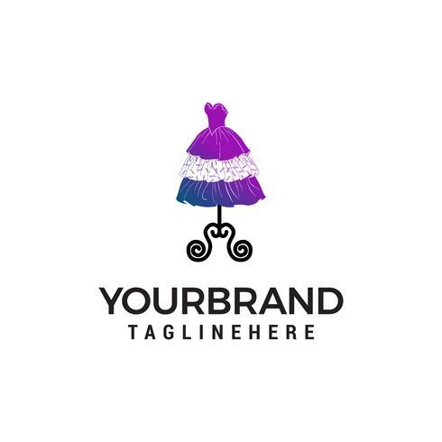 wedding dress logo design concept template vector
