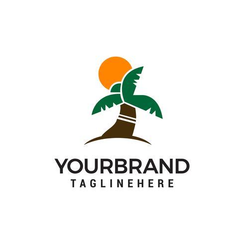 vector de plantilla de concepto de diseño de logotipo de árbol de coco